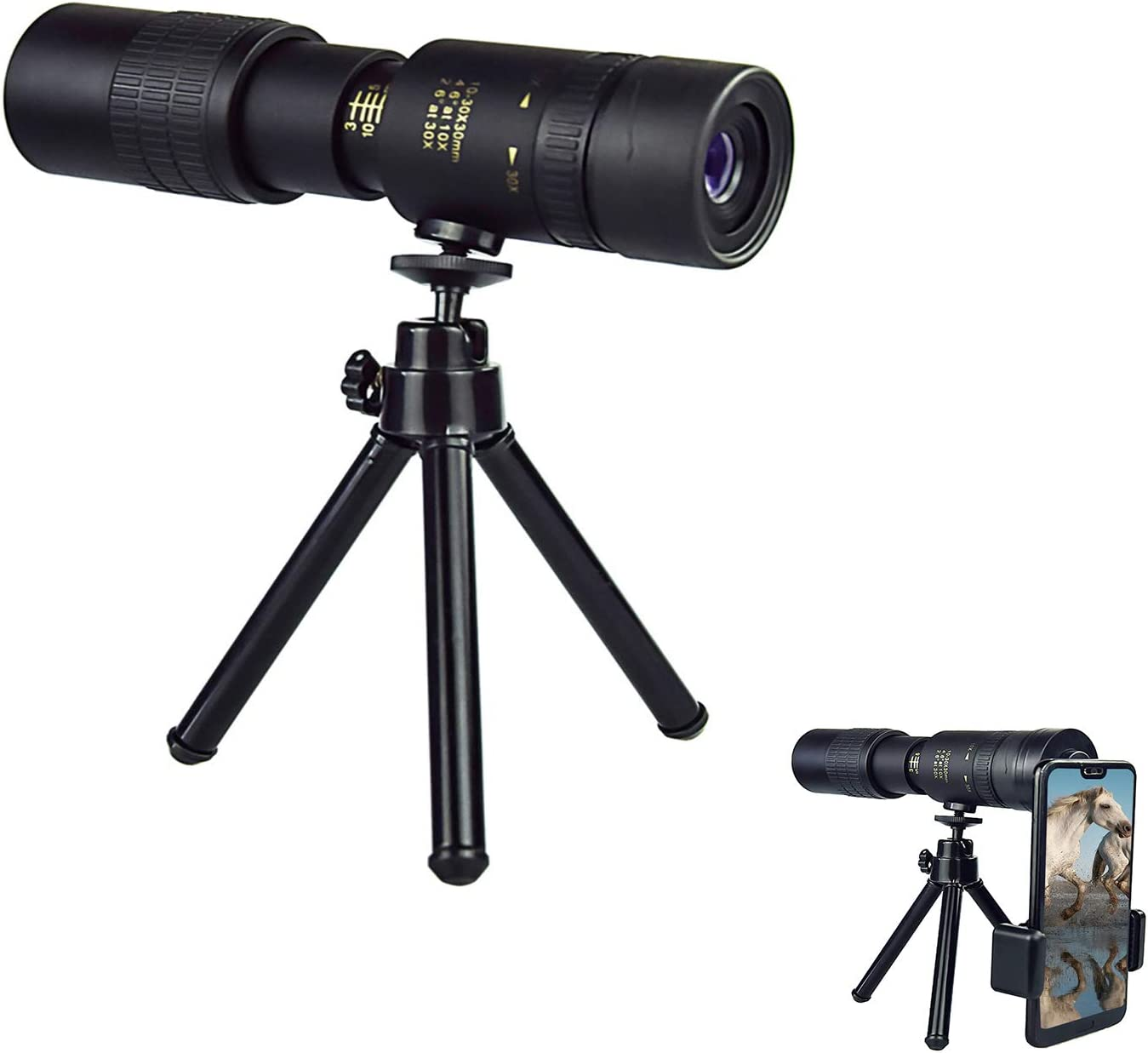 4K 10-300X40mm Super Telephoto Zoom Monocular Telescope with Smartphone Holder and Tripod for Beach Travel Bird Watching Camping