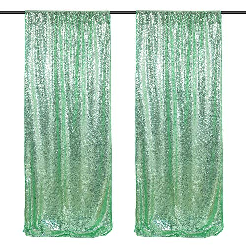 Sequin Backdrop Curtain 2 Panels 2ftx8ft Mint Green Sequin Photo Backdrop Glitter Fabric Drapes Wedding Party Background Backdrop