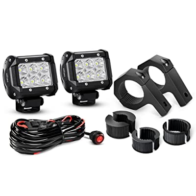 Nilight ZH060 2PCS 4 Inch 18W Flood LED Light Mounting Bracket Horizontal Bar Tube Clamp with Off Road Wiring Harness-2 Leads, 2 Years Warranty: Automotive