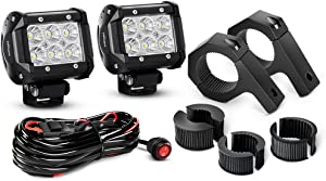Nilight ZH060 2PCS 4 Inch 18W Flood LED Light Mounting Bracket Horizontal Bar Tube Clamp with Off Road Wiring Harness-2 Leads, 2 Years Warranty