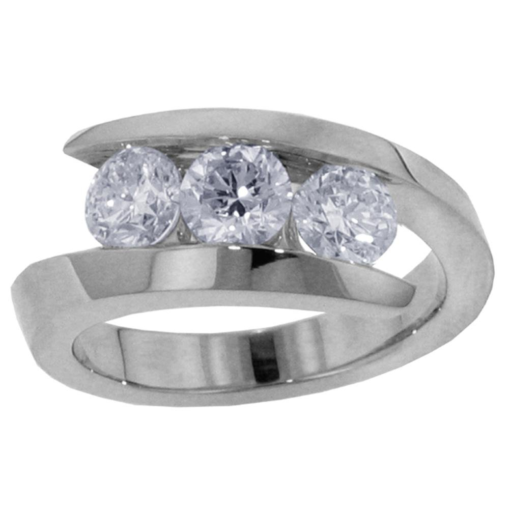1.00 CT TW 3-Stone Channel Set Anniversary Wedding Ring in 14k White Gold - Size 7.5