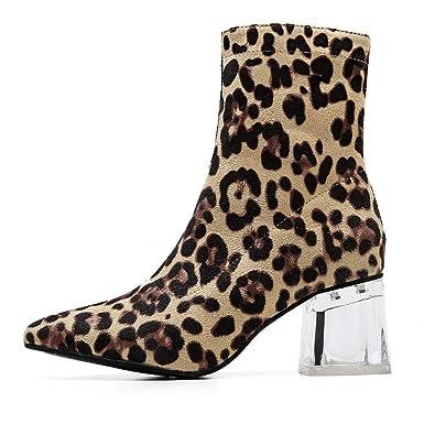 TPulling Bottes Femmes Hiver Mode Femmes léopard Cristal