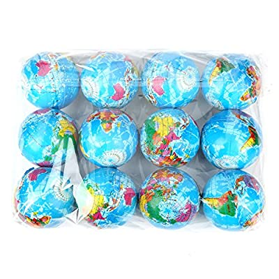 12 Pack - Mini Foam World Globe Squeeze Stress Balls for Adults & Kids: Toys & Games