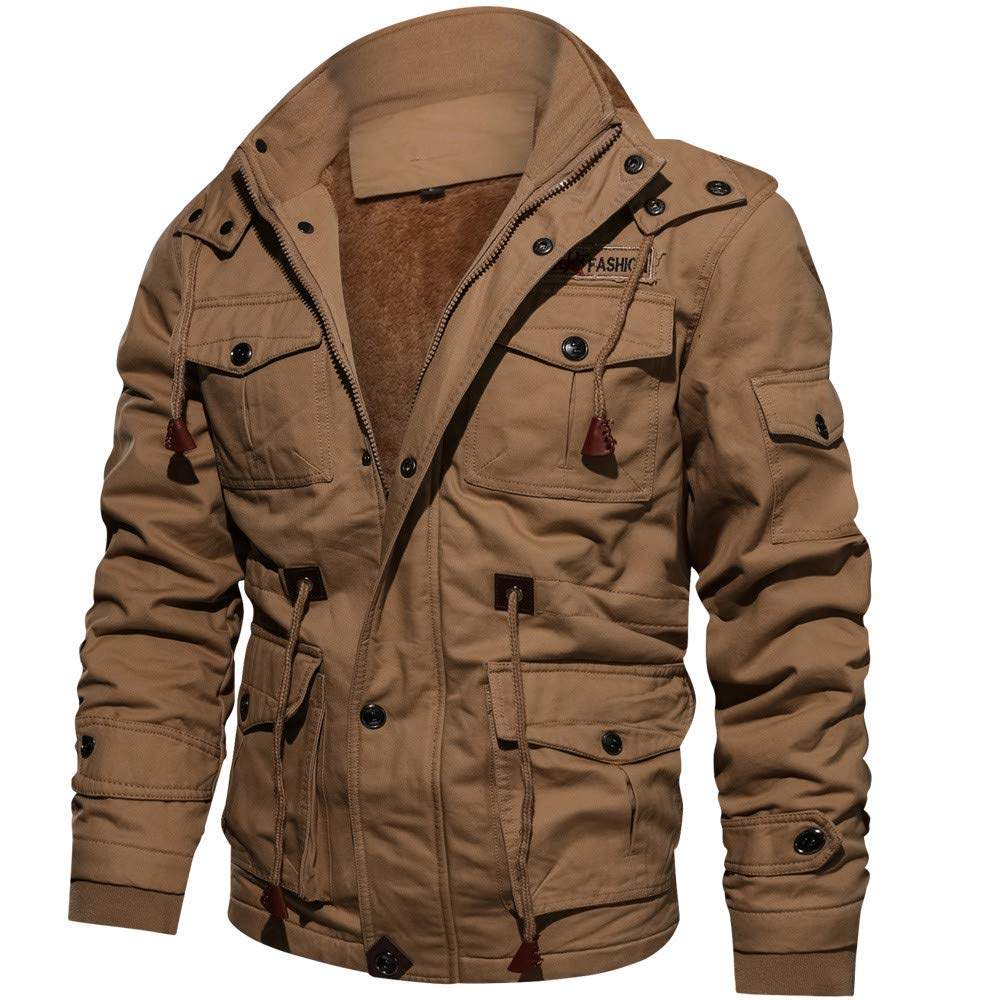OWMEOT Mens Winter Military Clothing Pocket Tactical Outwear Thickened Cashmere Coat M-4XL