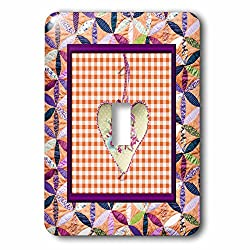 Beverly Turner Heart Design - Petal Shaped Quilt Look, Frame, Peach Cloth Look Rose Heart, Ribbon - Light Switch Covers - single toggle switch (lsp_236960_1)