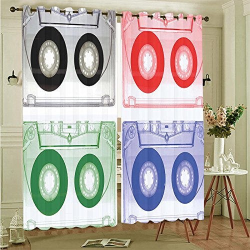 """Price comparison product image Two Panel Set Window Curtain 70s Party Decorations Colorful Audio Cassette Nostalgic Analogue Recording Old Fashioned Polyester Window Treatments For Bedroom Diningroom Livingroom Dorm,  108""""Wx84""""L"""
