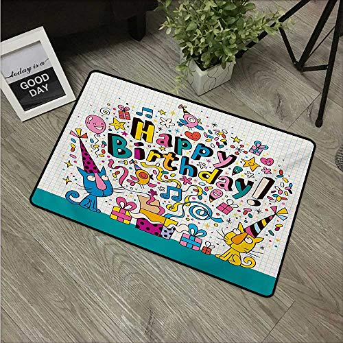 """HRoomDecor Kids Birthday,Personalized Door mats Math Note Pad Inspired Design Cartoon Style Animals Cats Present Image W 20"""" x L 31"""" Bath Mats Blue and White"""