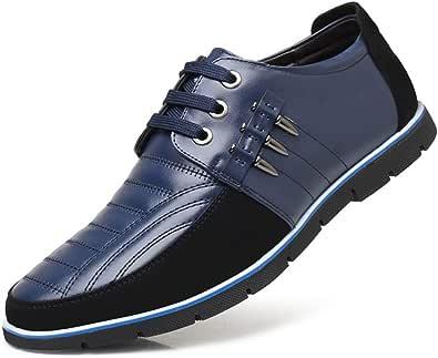 LIEBE721 Zapatos Ocasionales de Negocios para Hombres Formal Salvaje Antideslizante Duradero clásico Elegante Maduro Comfartable con Cordones Moda Zapatos de Gran tamaño