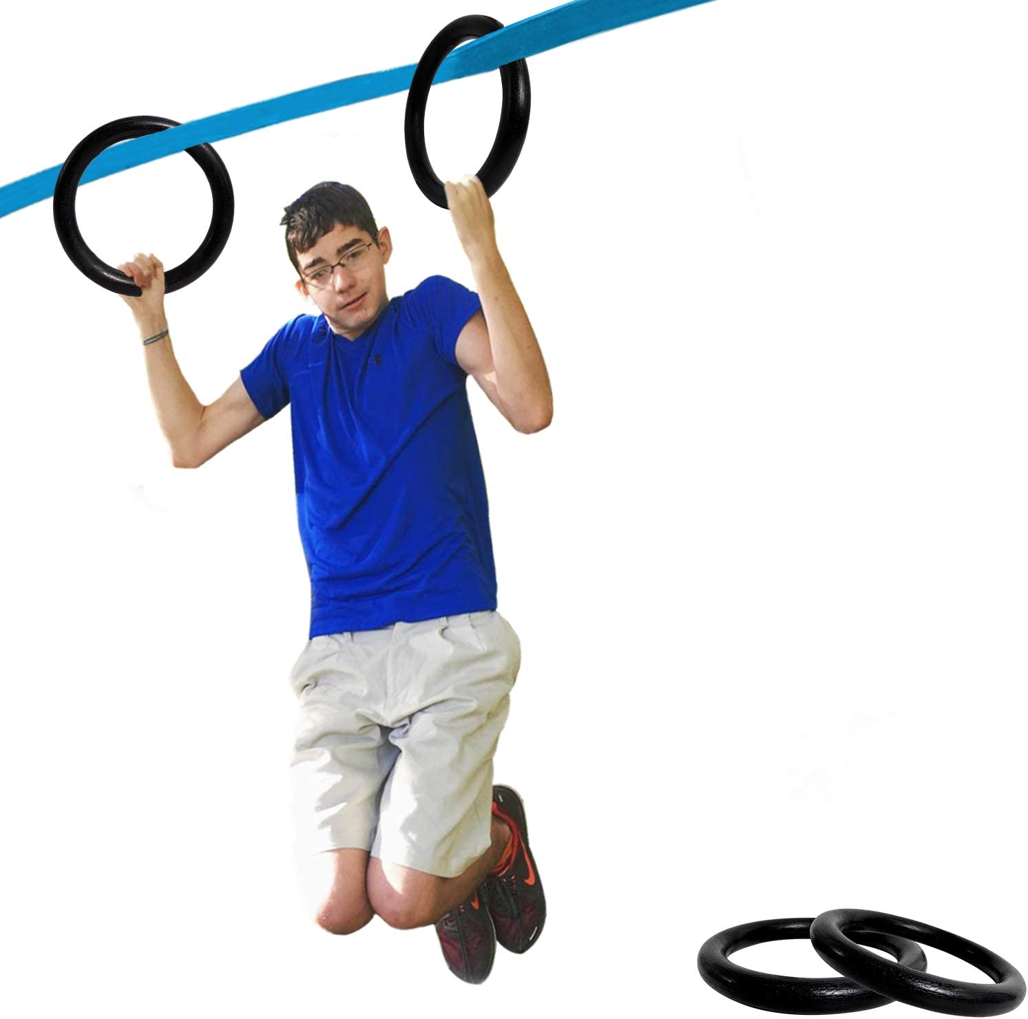 Winslow&Ross Swing Gymnastic Rings, 1500lbs Capacity Backyard Ninja Warrior Obstacle Course, Family Gym Training Body Building Equipment for Both Kids Parents (2pcs)