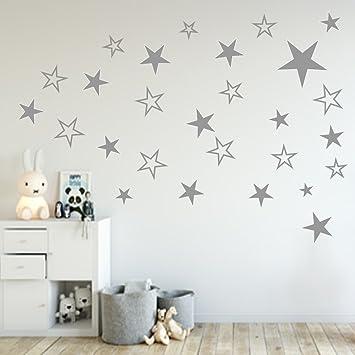Babyzimmer Sterne | 80 Stuck Sterne Aufkleber Wandtattoo Kinderzimmer Schlafzimmer