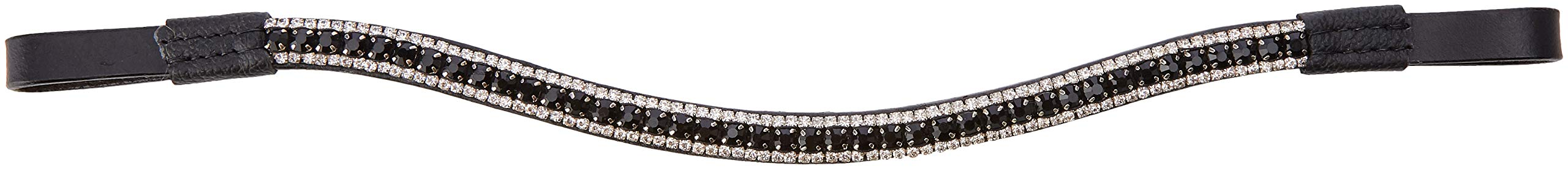 Cwell Equine Bling!Leather Mega-Sparkly Browband3-Row CrystalsDressageBLACK/Clear F/C/P Black (Full 16'')