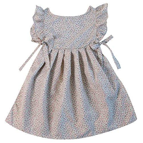 Making Believe Girls Pinafore Smock, Cream Flower, Girls Small 4/6 (Dress Pinafore)