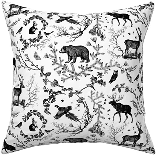 Woodland Rustic Wildlife Deer Throw Pillow Cover w Optional Insert by Roostery