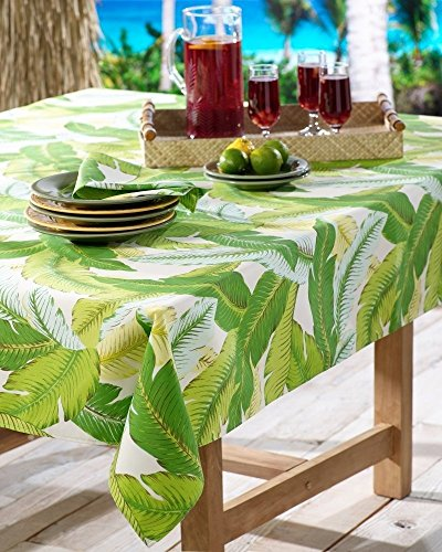 - io-D84 Tommy Bahama Banana Leaves 60 x 84 Tablecloth Indoor Outdoor Water-Repellent Summer Picnic Patio
