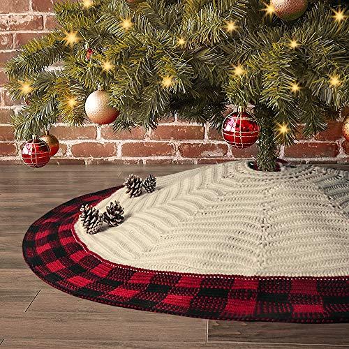 LimBridge Christmas Tree Skirt, 48 inches Buffalo Plaid Knitted Thick Heavy Yarn Rustic Xmas Holiday Decoration, Cream Burgundy
