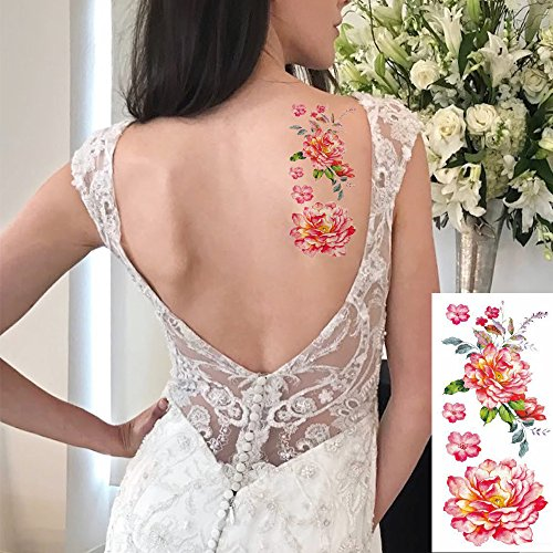 2fc24805e 8 Sheets Flower Temporary Tattoos Stickers Lotus Cherry Blossoms Flash  Tattoo, Floral Sexy Body Fake Tattoo Sticker for Women & Girl,for Cosplay  Carnival