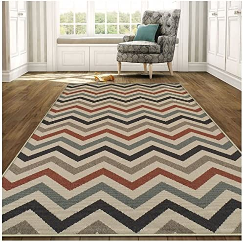 Superior Chevron Collection 8 x 10 Area Rug, Indoor Outdoor Rug with Jute Backing, Durable and Beautiful Woven Structure, Contemporary Multi-colored Zig-Zag Pattern