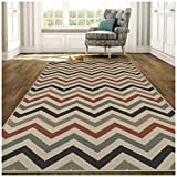 Cheap Superior Chevron Collection 8′ x 10′ Area Rug, Indoor/Outdoor Rug with Jute Backing, Durable and Beautiful Woven Structure, Contemporary Multi-colored Zig-Zag Pattern