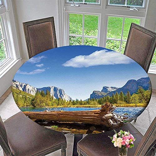 Mikihome Simple Modern Round Table Cloth Merced River El Capitan and Half Dome in California National Park for Daily use, Wedding, Restaurant 43.5
