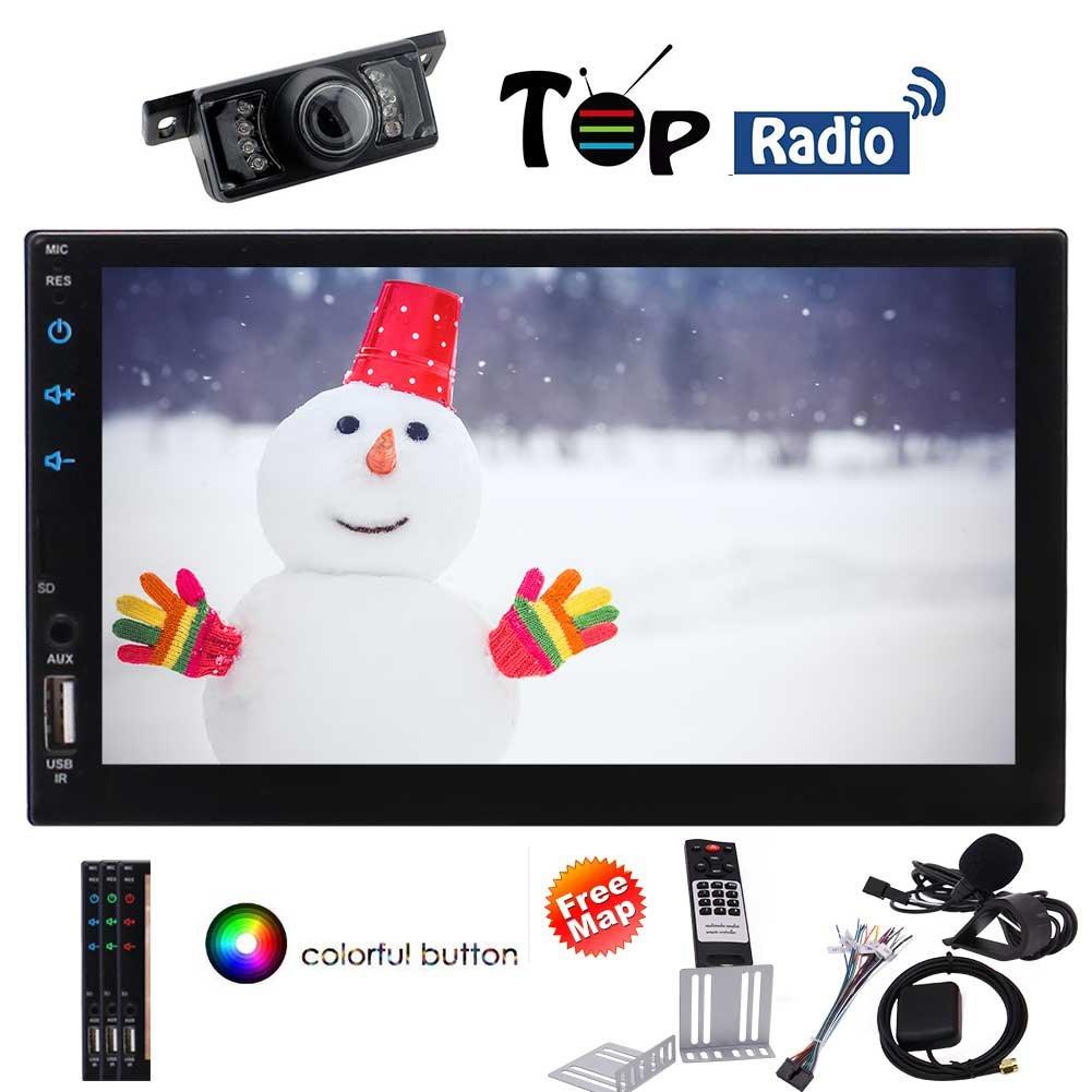 クアッドコアのAndroid 6.0マシュマロダブルディンカーステレオダッシュGPSナビゲーションAutoradioのBluetoothヘッドユニット2喧騒オーディオビデオエンターテイメントシステムのサポート無線LAN/Mirrorliml/1080P/USB/SD/バックアップカメラでのNO-DVD B07D7PNLWD