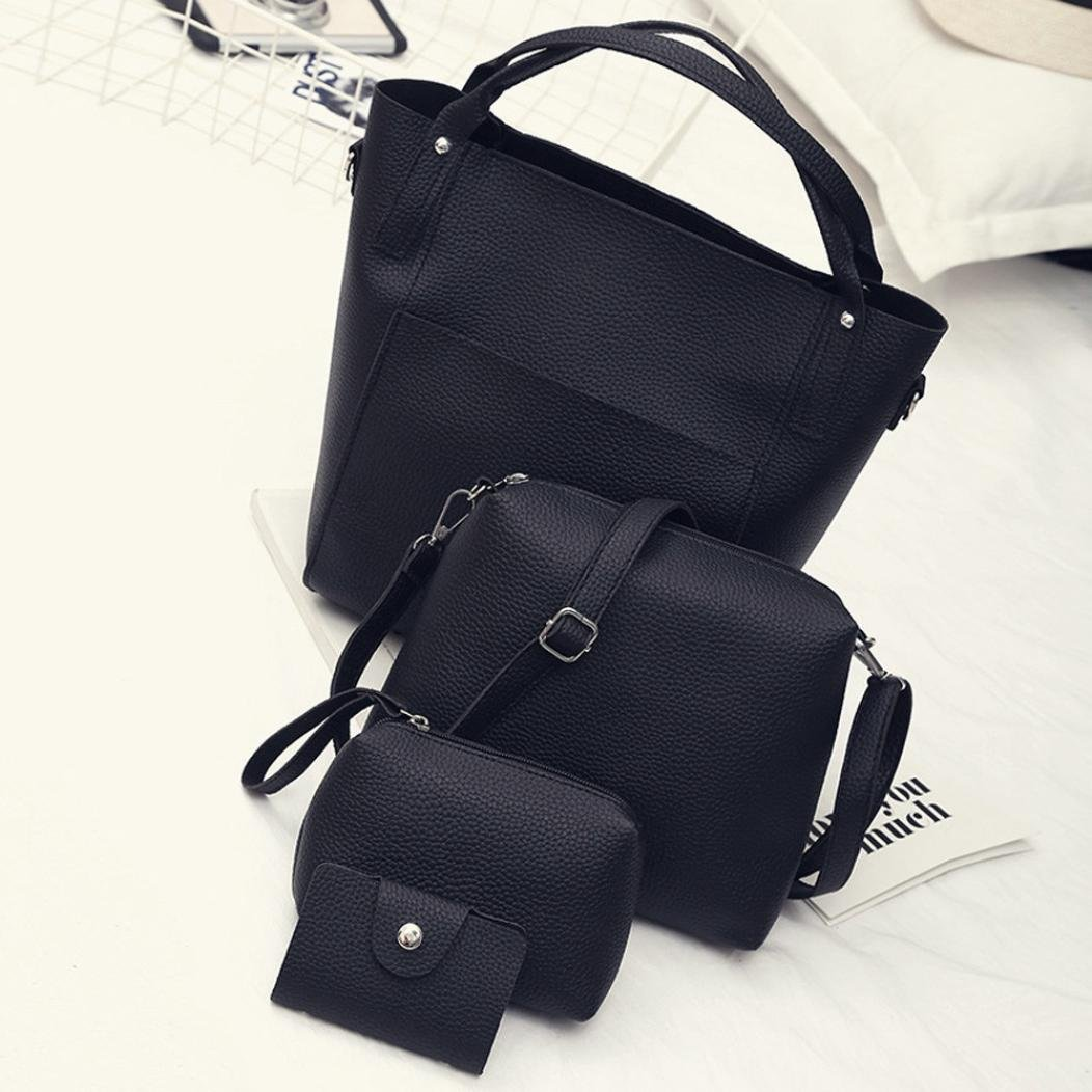 Amazon.com: FDelinK Womens Shoulder PU Leather Tote Purses and Handbags Satchel Large Bag 4 Pcs Set (Black): Clothing