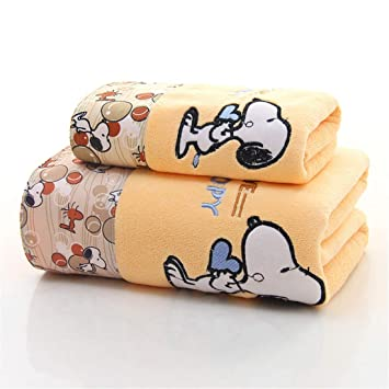 wide smile Juego de Toallas de baño con Estampado de Dibujos Animados, Amarillo, 2 Unidades: Amazon.es: Hogar