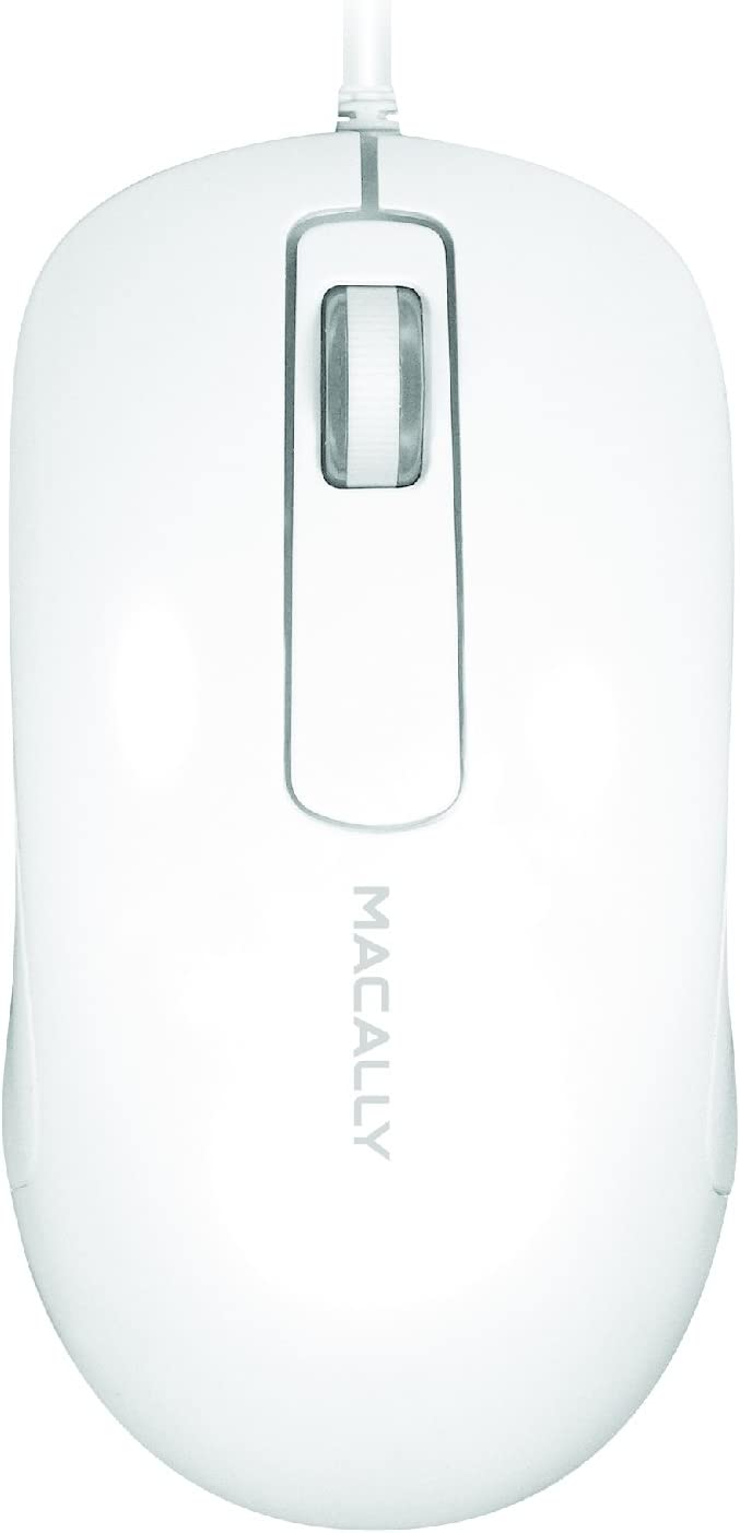 Macally 3-Button Optical USB Wired Computer Mouse with 5-Foot Cord, Compatible with PCs, Apple Macs, Desktops, Laptops (ICEMOUSE3), White
