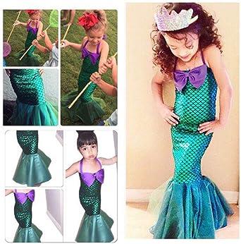 OBEEII Vestido de Fiesta Disfraz Sirena Niña Fiesta Boda Princesa ...