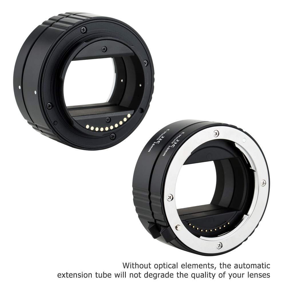 JJC E Mount Auto Focus Macro Extension Tube Set for Sony A6000 A6100 A6300 A6400 A6500 A6600 A5100 A7 III A7 II A7 A7R IV A7R III A7R II A7R A7S II A7S A9 NEX-6 NEX-7 and More Sony E Mount Camera