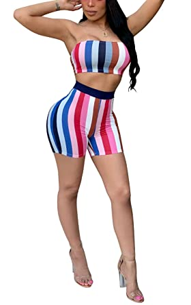 6c35d108a7e Aleng Women s Sexy Mulit Striped Two Piece Bandeau Crop Tube Top and  Bodycon Color Block Shorts