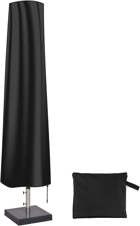 QH-Shop Funda Protectora para Parasol, Impermeable Funda Sombrilla Jardin, Antipolvo y Resistente a los Rayos UV con Bolsa de Almacenamiento, 190 x 30 x 50cm, Negro
