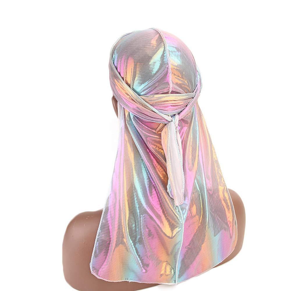 OSTELY Men//Women Silk Polyester Bandana Hat Durag Rag Tail Headwrap Hip Hop Cloak Hat Headwear Gift
