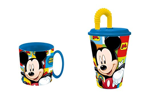 Mickey mouse. Taza apta para microondas y vaso.: Amazon.es: Hogar