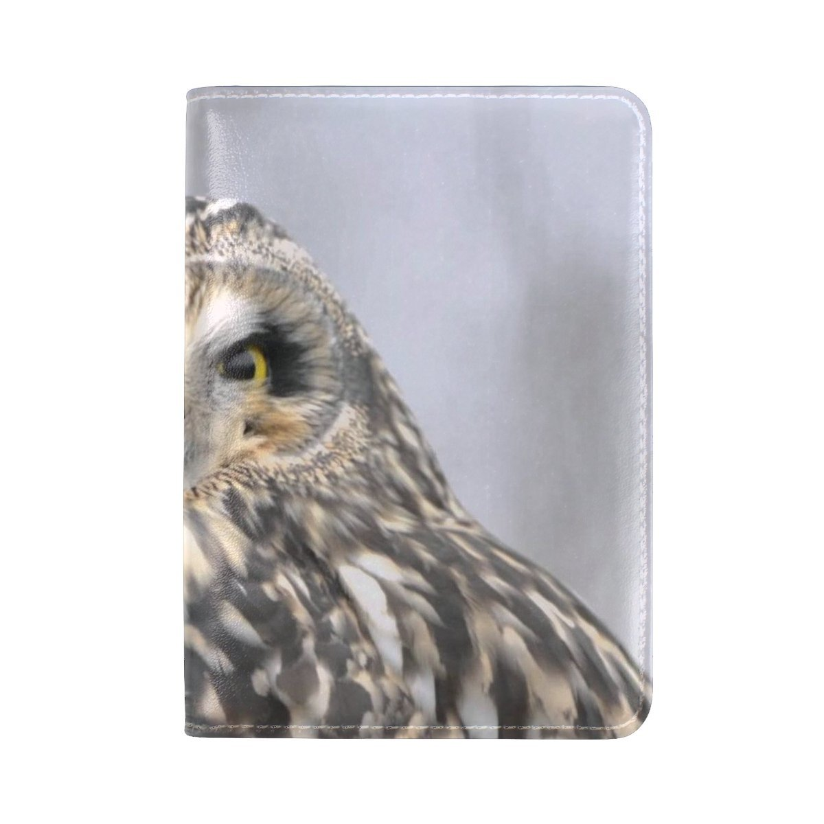 Animal Owl Short-eared Adorable Brown Haired Smart Single Amazing Leather Passport Holder Cover Case Travel One Pocket