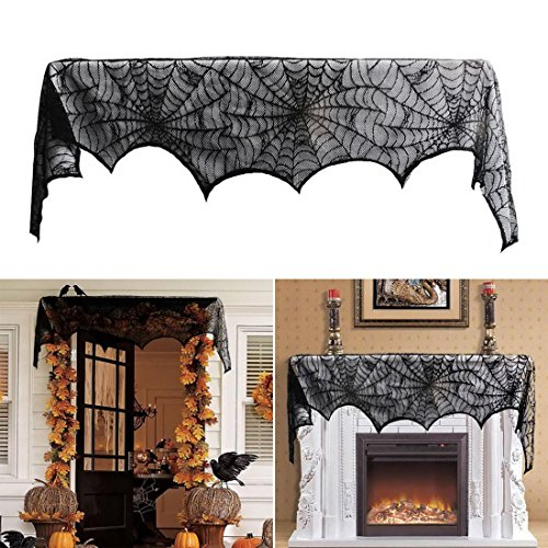 Halloween Spider Web Lace Door Window Valance Curtain - Cobweb Fireplace Mantle Scarf Covers for Haunted House Backdrop Mysterious Party Decoration, Black, 18 by 96 Inch