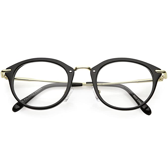 6a9af38b1c sunglassLA - Classic Horn Rimmed Round Eyeglasses Thin Metal Arms Clear Lens  47mm (Black