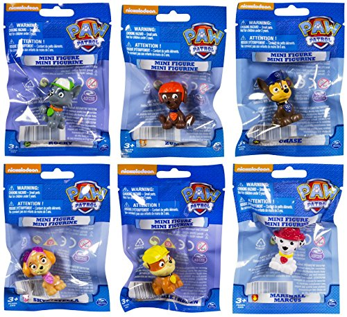 Paw Patrol Mini Figures Set of Six, Rocky, Zuma, Skye, Rubble, Marshall, Chase