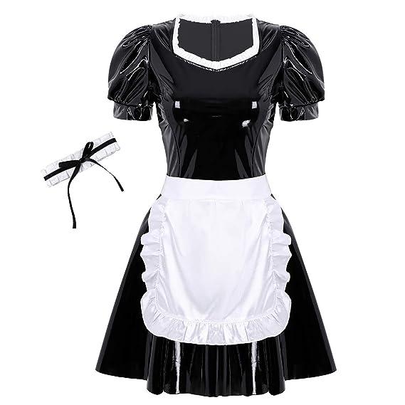 Alvivi Vestido Sexy de Charol Mujer Disfraz de Sirvienta Criada ...