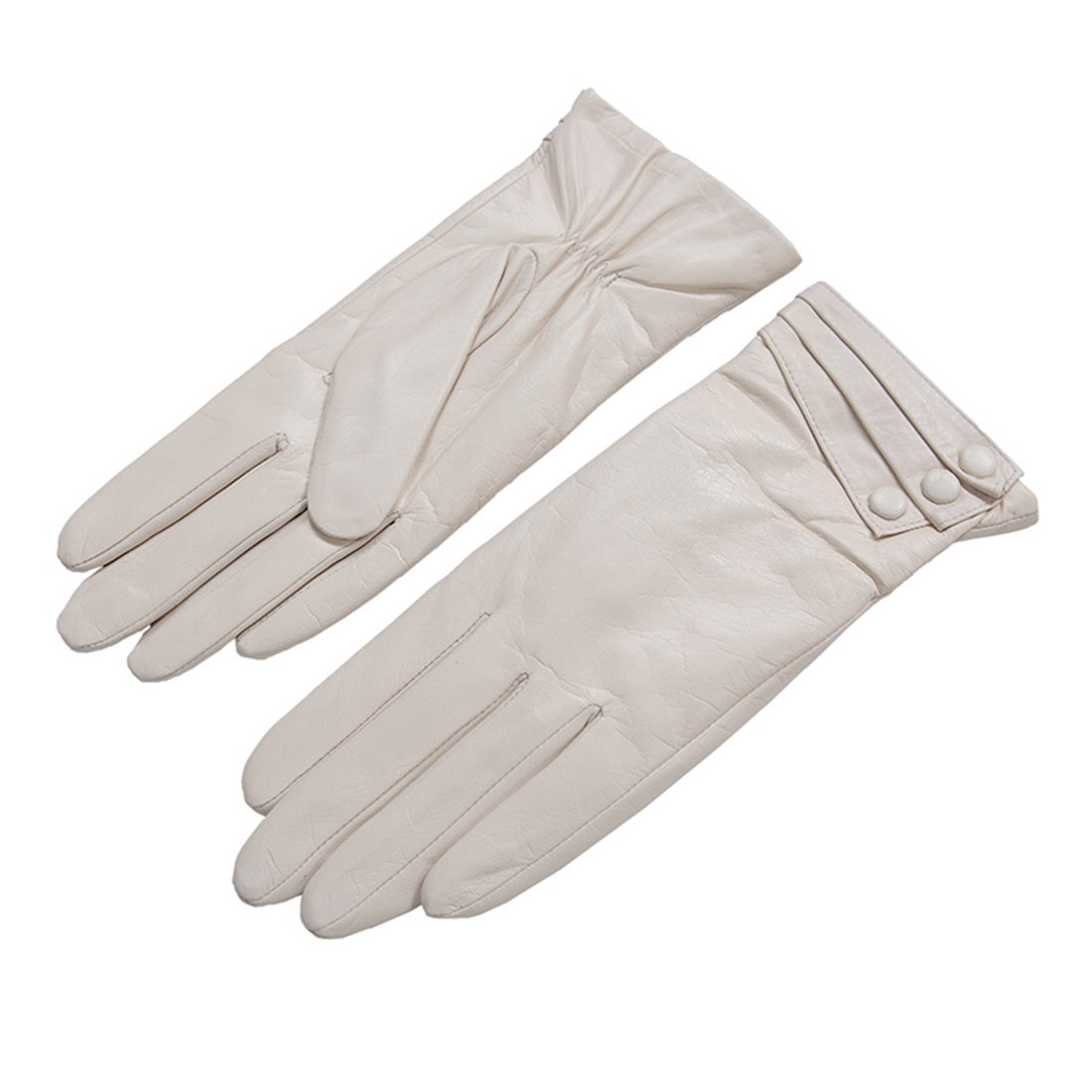 Nappaglo Nappa Leather Gloves Warm Lining Winter Button Decoration Imported Leather Lambskin Gloves for Women (M, Beige)