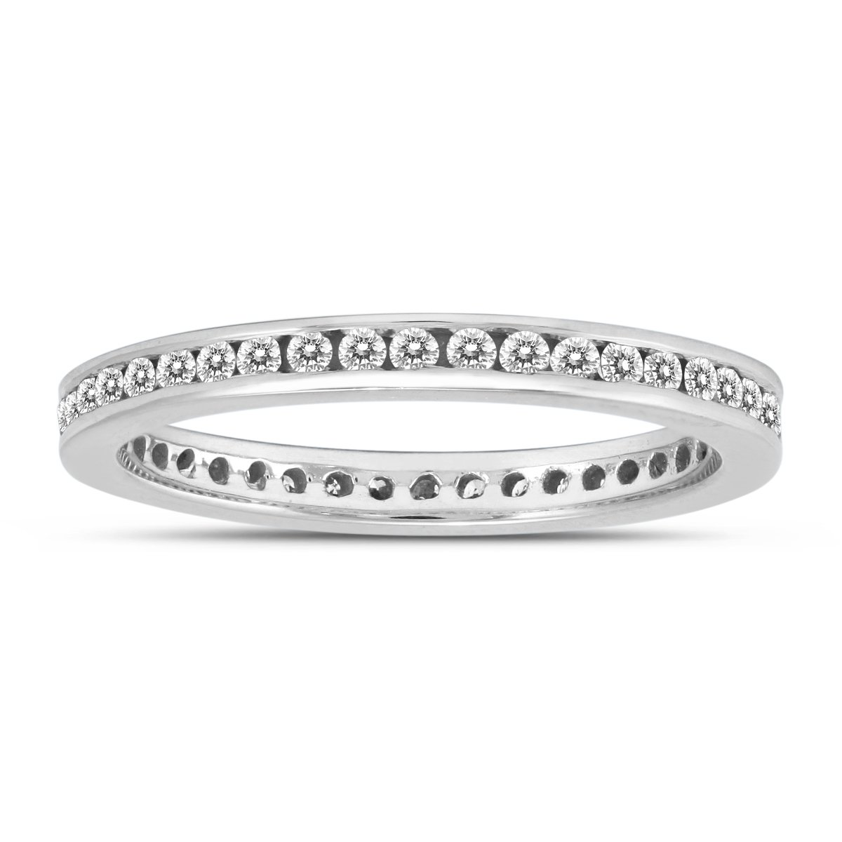 AGS Certified 1/2 Carat TW Channel Set Thin Eternity Diamond Band in 10K White Gold