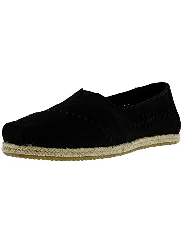 cf554510079 TOMS Women s Classic Nubuck Black Woven Panel Ankle-High Flat Shoe - 6M