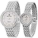 Women's Quartz Stainless Steel Casual Watch. Mother of Pearl Dial With Diamond Case (Couple)