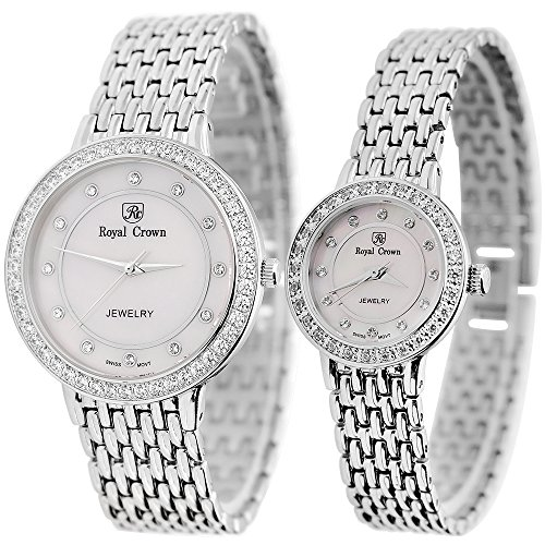 Women's Quartz Stainless Steel Casual Watch. Mother of Pearl Dial With Diamond Case (Couple) by Royal Crown