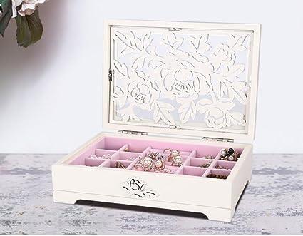 luckyyan Joyero de madera europea creativa caja de joyas anillo Collar Caja de Colección Retro joyas