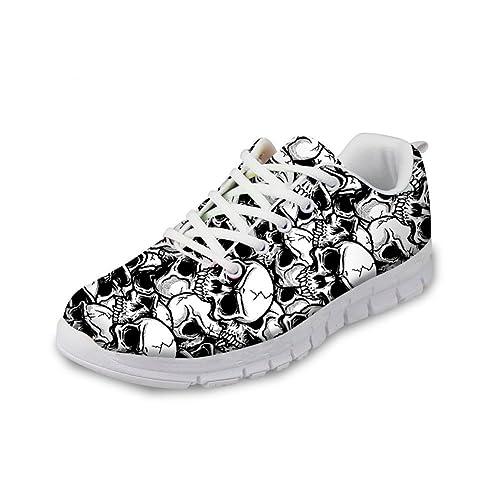 5e712c99af16b Bigcardesigns Men Skull Lace up Breathable Ultralight Mesh Sneaker Sport  Shoes