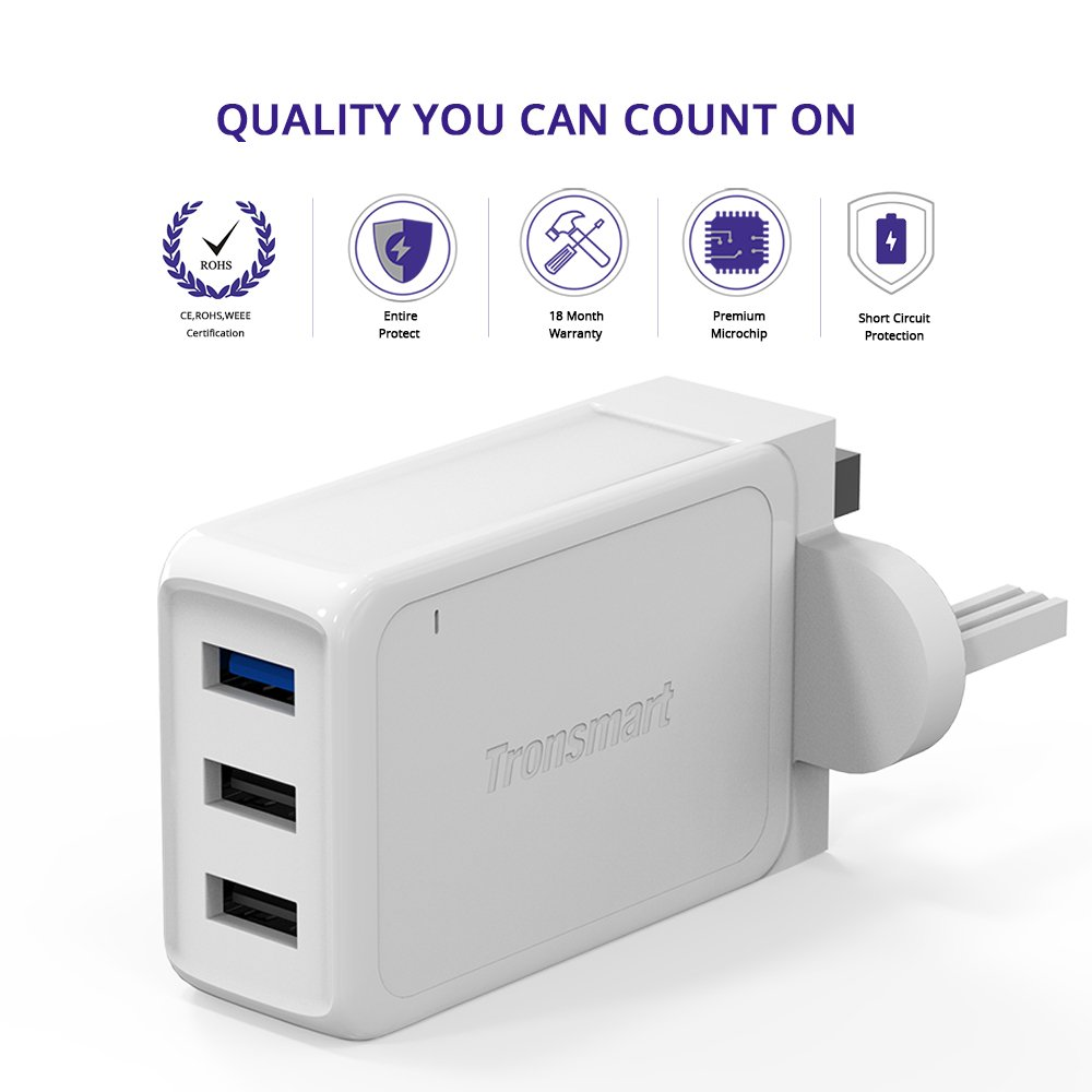 Tronsmart Usb Charger 42w 3 Port Wall With Quick Charge 30 W3pta Qualcomm Certified Electronics