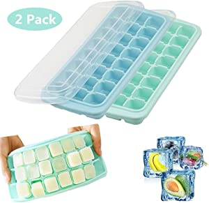 Ice Cube Trays,2 Pack Silicone Ice Cube Molds with Lid,24 Ice Tray,Ice Trays Stackable,BPA Free (Green+Blue)