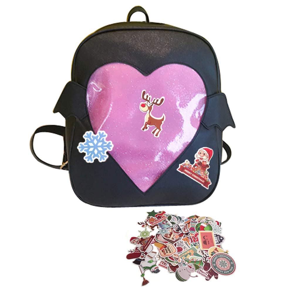 Abuyall Candy Backpacks Transparent Love Heart Shape Pu Leather School Bags A