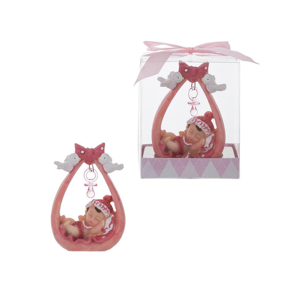 Lunaura Baby Keepsake – Set of 12 Girl Baby Sleeping Under Pacifier Favors – Pink
