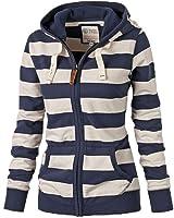 ASCHOEN Women Casual Long Sleeve Zipper Stripe Sweatshirts Hooded Jacket